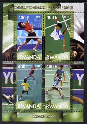 Rwanda 2012 London Olympic Games - Badminton perf sheetlet containing 4 values unmounted mint