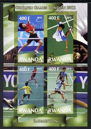Rwanda 2012 London Olympic Games - Badminton imperf sheetlet containing 4 values unmounted mint