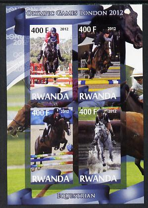 Rwanda 2012 London Olympic Games - Equestrian perf sheetlet containing 4 values unmounted mint
