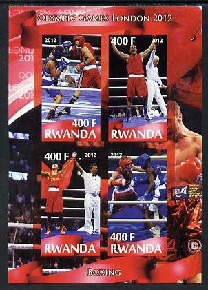 Rwanda 2012 London Olympic Games - Boxing imperf sheetlet containing 4 values unmounted mint, stamps on olympics, stamps on boxing