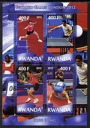Rwanda 2012 London Olympic Games - Table Tennis perf sheetlet containing 4 values unmounted mint, stamps on olympics, stamps on table tennis