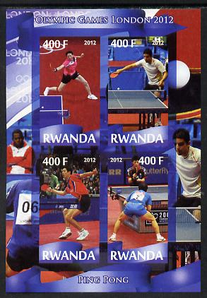 Rwanda 2012 London Olympic Games - Table Tennis imperf sheetlet containing 4 values unmounted mint