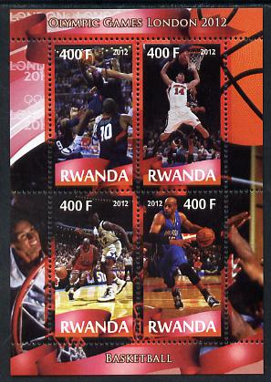 Rwanda 2012 London Olympic Games - Basketball perf sheetlet containing 4 values unmounted mint