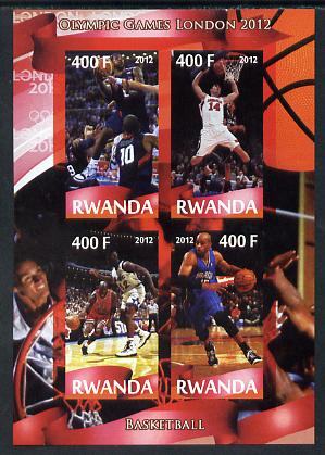 Rwanda 2012 London Olympic Games - Basketball imperf sheetlet containing 4 values unmounted mint
