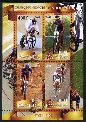 Rwanda 2012 London Olympic Games - Cycling perf sheetlet containing 4 values unmounted mint