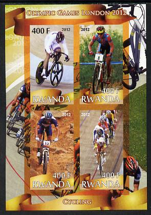 Rwanda 2012 London Olympic Games - Cycling imperf sheetlet containing 4 values unmounted mint