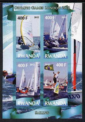 Rwanda 2012 London Olympic Games - Sailing imperf sheetlet containing 4 values unmounted mint