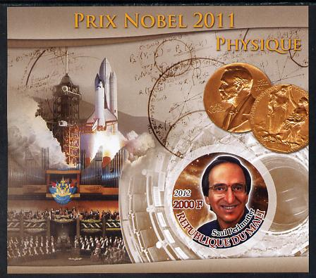 Mali 2012 Nobel Prize for Physics - Saul Perlmutter imperf souvenir sheet containing circular stamp unmounted mint