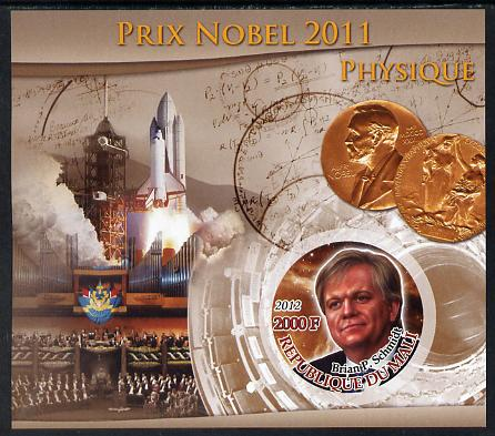 Mali 2012 Nobel Prize for Physics - Brian P Schmidt imperf souvenir sheet containing circular stamp unmounted mint