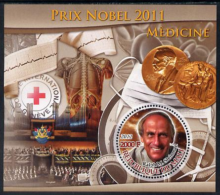 Mali 2012 Nobel Prize for Medicine - Ralph M Steinman perf souvenir sheet containing circular stamp unmounted mint