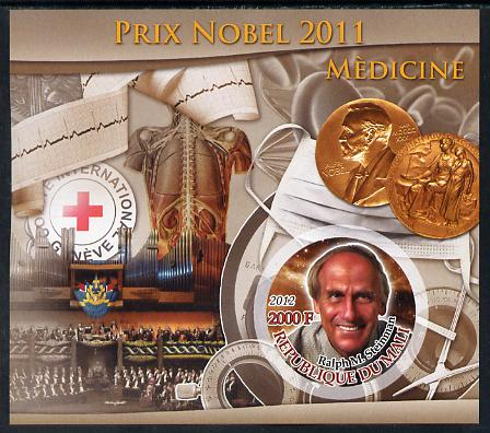Mali 2012 Nobel Prize for Medicine - Ralph M Steinman imperf souvenir sheet containing circular stamp unmounted mint
