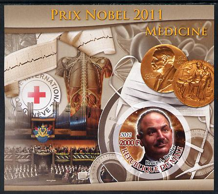 Mali 2011 Nobel Prize for Medicine - Bruce A Beutler imperf souvenir sheet containing circular stamp unmounted mint