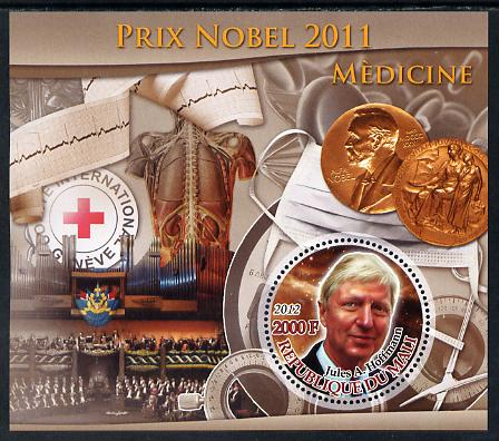 Mali 2012 Nobel Prize for Medicine - Jules A Hoffmann perf souvenir sheet containing circular stamp unmounted mint