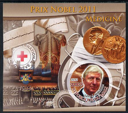 Mali 2012 Nobel Prize for Medicine - Jules A Hoffmann imperf souvenir sheet containing circular stamp unmounted mint, stamps on nobel, stamps on medicine, stamps on medical, stamps on red cross, stamps on , stamps on shaped