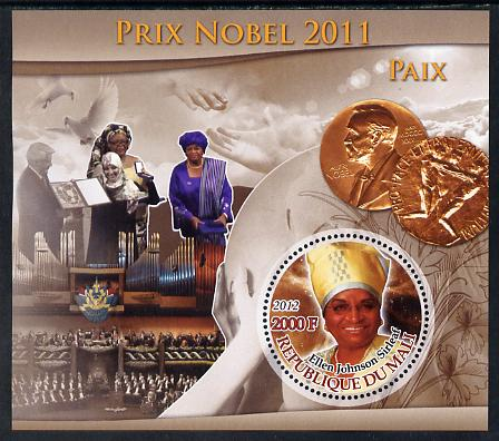 Mali 2012 Nobel Peace Prize - Ellen Johnson Sirleaf perf souvenir sheet containing circular stamp unmounted mint