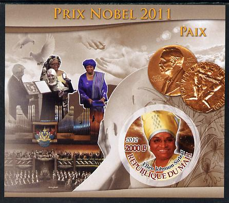 Mali 2012 Nobel Peace Prize - Ellen Johnson Sirleaf imperf souvenir sheet containing circular stamp unmounted mint