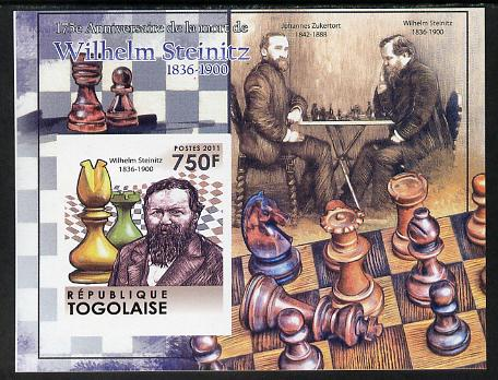 Togo 2011 Chess - Wilhelm Steinitz #1 imperf m/sheet unmounted mint. Note this item is privately produced and is offered purely on its thematic appeal