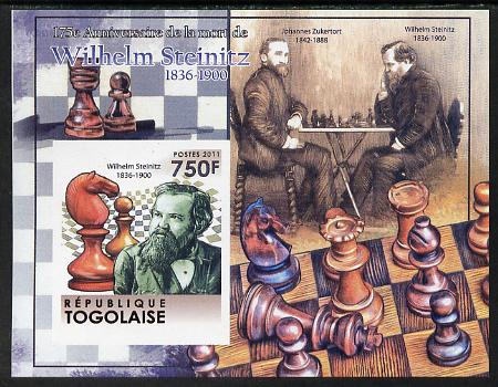 Togo 2011 Chess - Wilhelm Steinitz #2 imperf m/sheet unmounted mint. Note this item is privately produced and is offered purely on its thematic appeal