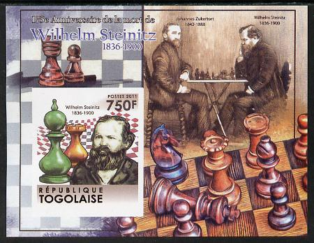 Togo 2011 Chess - Wilhelm Steinitz #3 imperf m/sheet unmounted mint. Note this item is privately produced and is offered purely on its thematic appeal