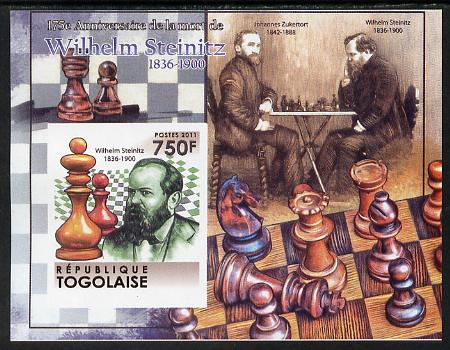 Togo 2011 Chess - Wilhelm Steinitz #4 imperf m/sheet unmounted mint. Note this item is privately produced and is offered purely on its thematic appeal