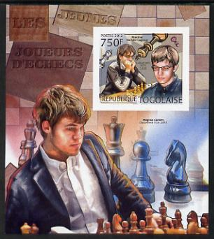 Togo 2012 Chess Players - Maxime Vachier-Lagrave & Magnus Carlsen imperf m/sheet unmounted mint. Note this item is privately produced and is offered purely on its thematic appeal