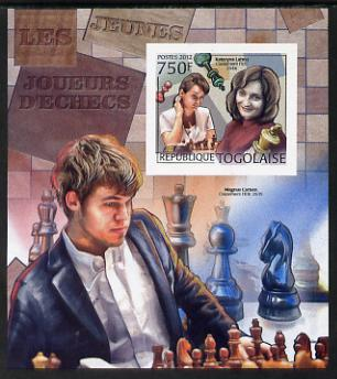 Togo 2012 Chess Players - Kateryna Lahno & Magnus Carlsen imperf m/sheet unmounted mint. Note this item is privately produced and is offered purely on its thematic appeal