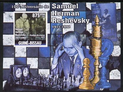 Guinea - Bissau 2011 Chess - Birth Centenary of Samuel Herman Reshevsky #2 imperf m/sheet unmounted mint. Note this item is privately produced and is offered purely on its thematic appeal