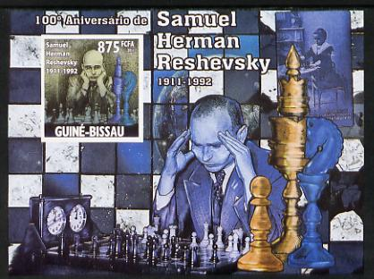 Guinea - Bissau 2011 Chess - Birth Centenary of Samuel Herman Reshevsky #3 imperf m/sheet unmounted mint. Note this item is privately produced and is offered purely on its thematic appeal