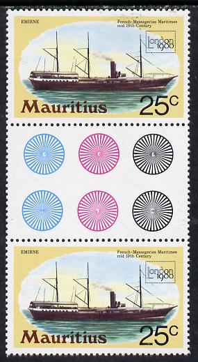 Mauritius 1980 'London 1980' 25c Mail Ship in unmounted mint gutter pair with wmk sideways inverted (SG 592Ei)