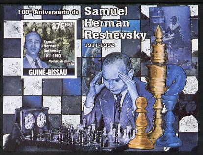 Guinea - Bissau 2011 Chess - Birth Centenary of Samuel Herman Reshevsky #4 imperf m/sheet unmounted mint. Note this item is privately produced and is offered purely on its thematic appeal