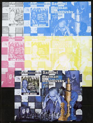 Guinea - Bissau 2011 Chess - Birth Centenary of Samuel Herman Reshevsky #4 m/sheet sheet - the set of 5 imperf progressive proofs comprising the 4 individual colours plus all 4-colour composite, unmounted mint