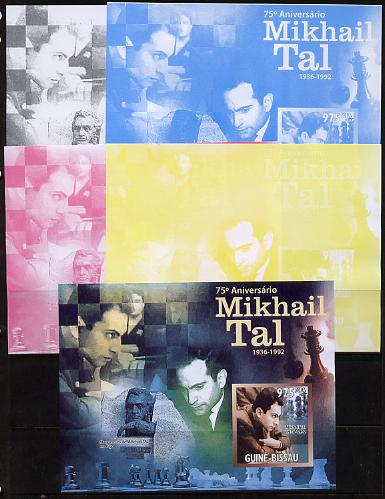 Guinea - Bissau 2011 Chess - 75th Birth Anniversary of Mikhail Tal #1 m/sheet sheet - the set of 5 imperf progressive proofs comprising the 4 individual colours plus all 4-colour composite, unmounted mint