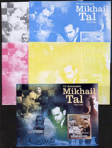 Guinea - Bissau 2011 Chess - 75th Birth Anniversary of Mikhail Tal #2 m/sheet sheet - the set of 5 imperf progressive proofs comprising the 4 individual colours plus all 4-colour composite, unmounted mint , stamps on personalities, stamps on chess, stamps on