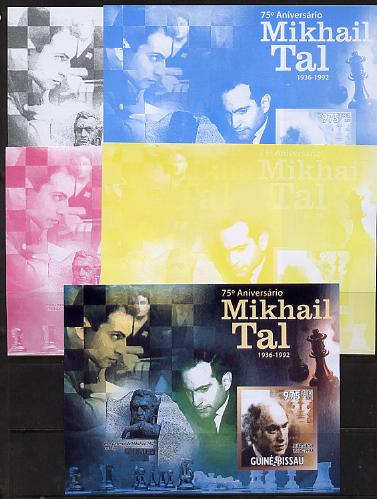 Guinea - Bissau 2011 Chess - 75th Birth Anniversary of Mikhail Tal #3 m/sheet sheet - the set of 5 imperf progressive proofs comprising the 4 individual colours plus all 4-colour composite, unmounted mint