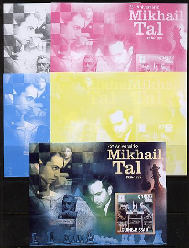 Guinea - Bissau 2011 Chess - 75th Birth Anniversary of Mikhail Tal #4 m/sheet sheet - the set of 5 imperf progressive proofs comprising the 4 individual colours plus all 4-colour composite, unmounted mint