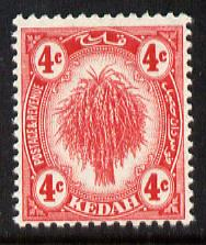 Malaya - Kedah 1919-21 Sheaf of Rice 4c red MCA unmounted mint SG21