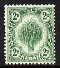 Malaya - Kedah 1919-21 Sheaf of Rice 2c green MCA unmounted mint SG18