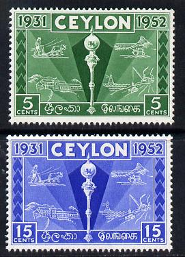 Ceylon 1952 Colombo Plan Exhibition set of 2 unmounted mint SG 431-2