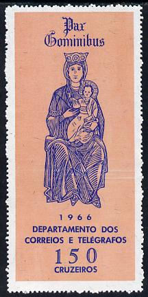 Brazil 1966 Madonna & Child 150cr from Christmas 150c unmnounted mint, SG 1157