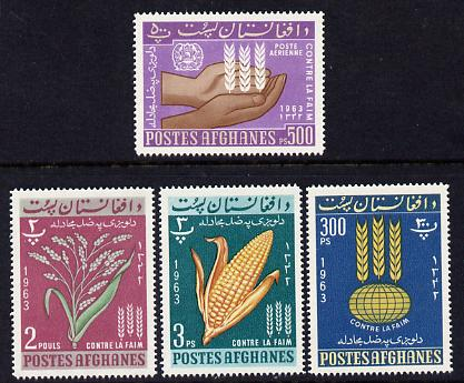 Afghanistan 1963 Freedom from Hunger set of 4 unmounted mint, stamps on food, stamps on agriculture