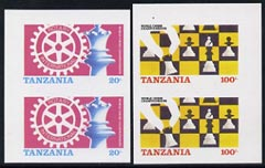 Tanzania 1986 World Chess/Rotary set of 2 each in imperf pairs unmounted mint (as SG 461-2)