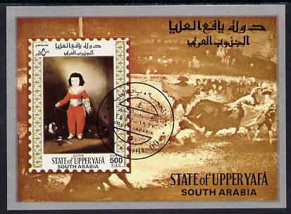 Aden - Upper Yafa 1967 Old Masters 2nd series 500f imperf m/sheet (Goya) fine cto used Mi BL 13