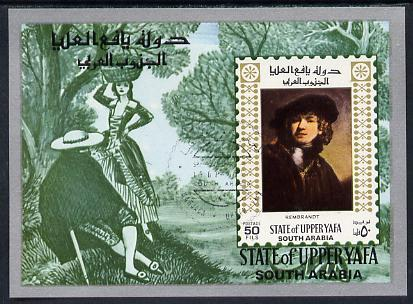 Aden - Upper Yafa 1967 Old Masters 1st series 50f imperf m/sheet (Rembrandt) fine cto used Mi BL 7