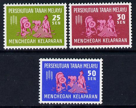 Malaysia - Federation 1963 Freedom from Hunger set of 3 unmounted mint, SG 32-34