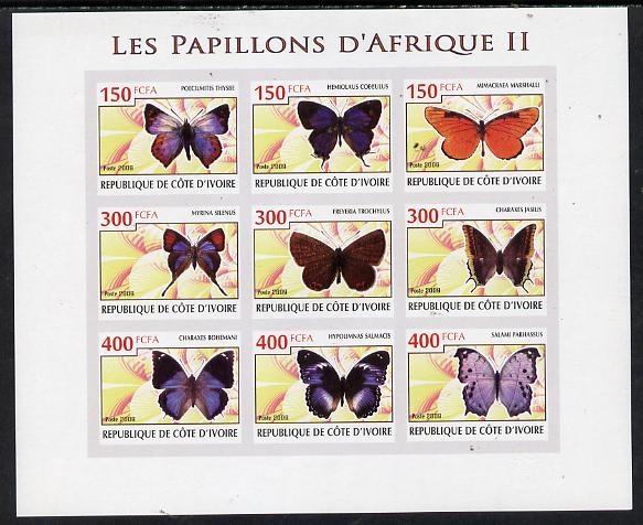 Ivory Coast 2009 Butterflies of Africa #2 imperf sheetlet containing 9 values unmounted mint