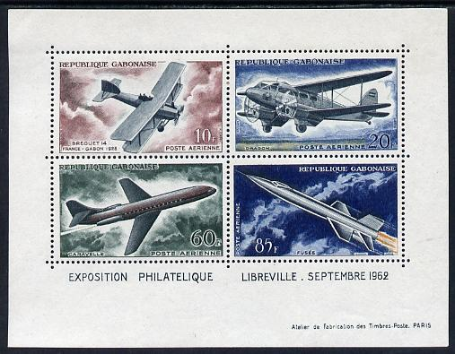 Gabon 1962 Evolution of Air Transport perf m/sheet unmounted mint, SG MS193