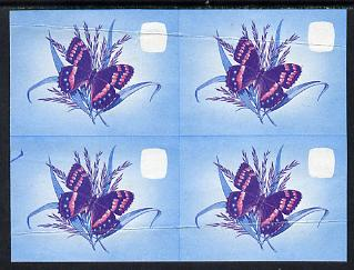 Lesotho 1984 Butterflies Mountain Beauty 2s in unmounted mint imperf proof block of 4 in blue & magenta only - some creasing, as SG 564