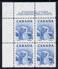 Canada 1953 Wildlife Week 2c Polar Bear corner plate No.1 block of 4 unmounted mint, SG 447