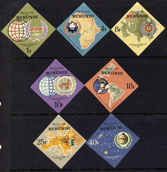 Burundi 1965 International Co-operation Year imperf diamond-shaped set of 7 unmounted mint, as SG 182-88