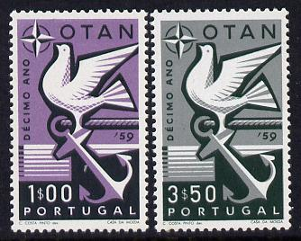 Portugal 1960 10th Anniv of N.A.T.O. set of 2 unmounted mint, SG 1164-65